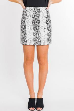 Twill Snakeskin Skirt