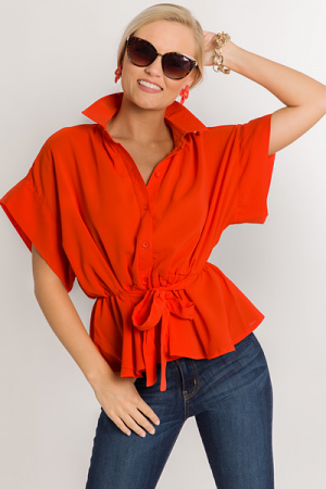 Button Down Peplum, Tomato