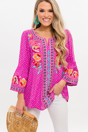 Alexis Embroidery Tunic, Pink