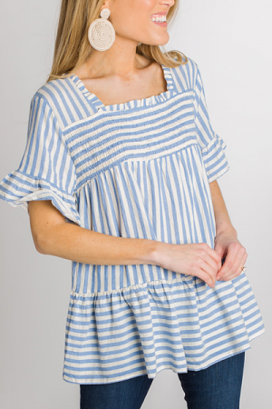 Smocked Stripes Blouse, Blue