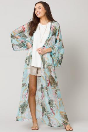 Tropical Belted Kimono, Aqua