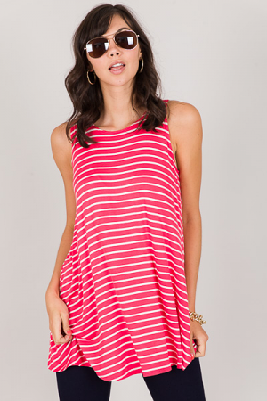The Best Thing Tunic, Coral Stripe
