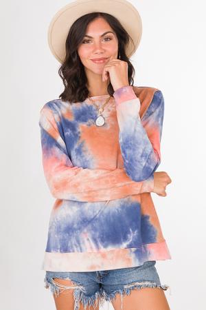 Ally Tie Dye Pullover, Peach
