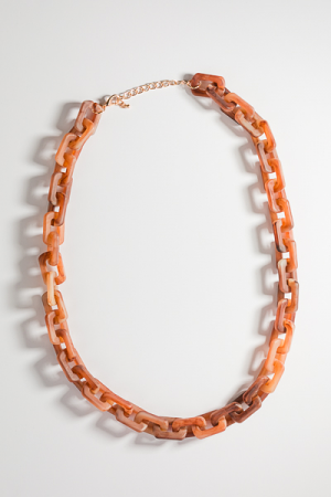 Acrylic Chain Necklace, Brown
