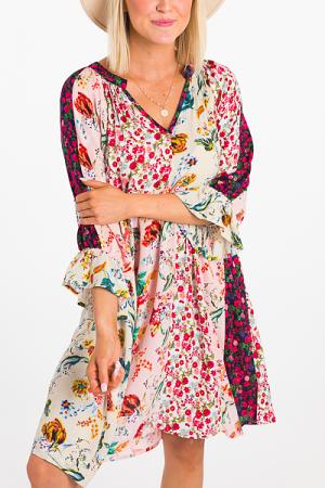 Mixed Florals Boho Dress
