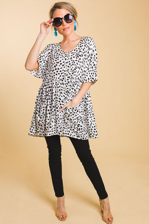 Abstract Dots Button Tunic