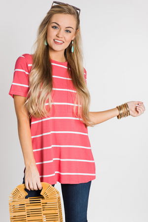 Rae Jersey Top, Coral Stripe