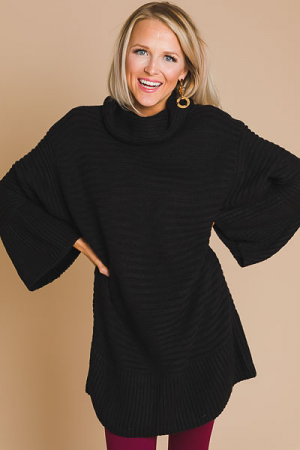 Square Sleeve Sweater, Black
