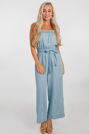 Chambray Belted Jumpsuit