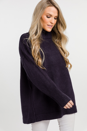 Layered Neck Sweater, Navy
