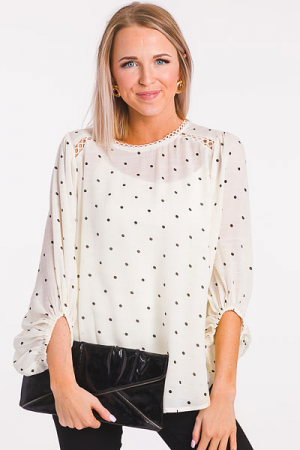 Spotted Blouse, Ivory