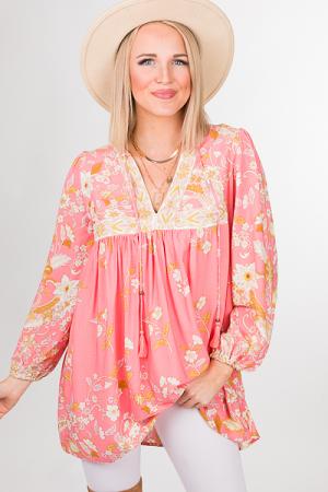 Boho Babe Tunic, Pink Print