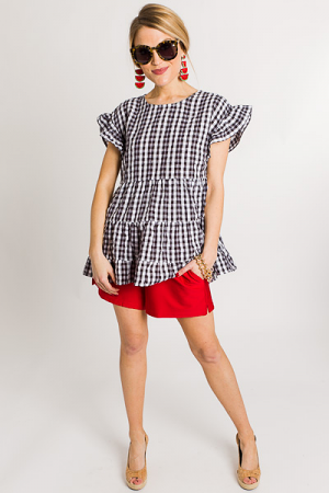 Tiered Gingham Top, Black