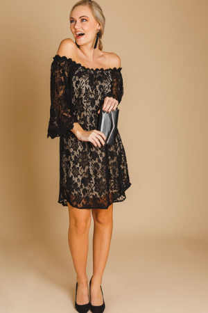 Off Shoulder Lace Dress, Black