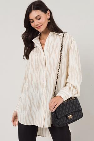 Zebra Shirt Dress, Taupe