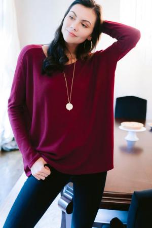 Sarah Long Sleeve Knit Tunic, Burgundy