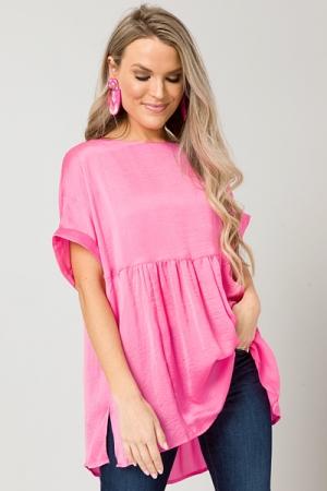 Oversized Satin Babydoll Top, Pink