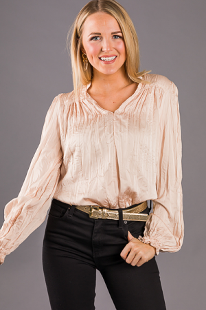 Crinkle In Time Blouse, Pearl