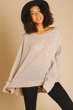 Oversized Light Sweater, Taupe