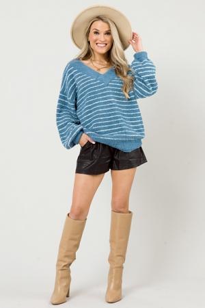 Fuzzy Soft Stripe Sweater, Blue