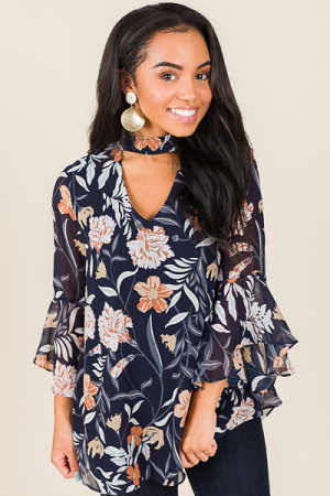 Choker Blouse, Navy Floral