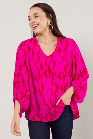 Puff Sleeve Blouse, Hot Pink/Red