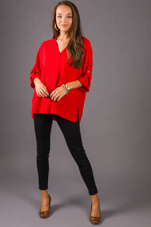 Woven Pleat Blouse, Tomato Red