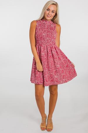 Smocked Speckled Dress, Mauve