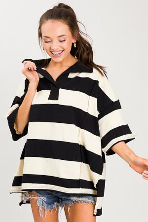 Oversize Stripe Pullover, Black