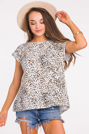 Cheetah Knit Top, Off White