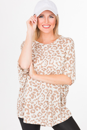 Chandler Cheetah Top, Ivory