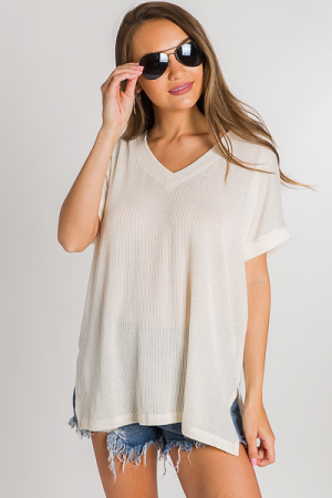 Oversize Ribbed Tee, Off White