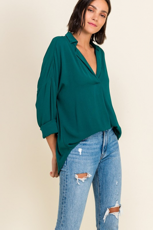 Pleated V Woven Blouse, Green