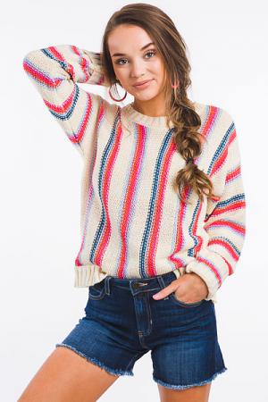 Top Down Stripe Sweater
