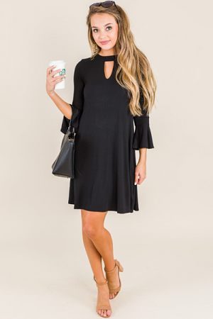 Keyhole Swing Dress, Black Knit