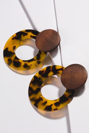 Wood & Acrylic Earring, Tortoise