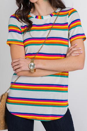 Rainbow Bands Tunic Tee