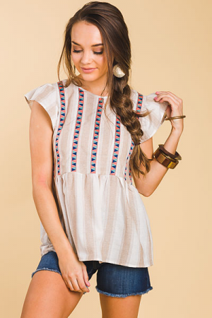 Love Triangle Striped Top, Taupe