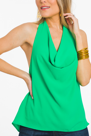 Cowl Neck Halter Top, Green
