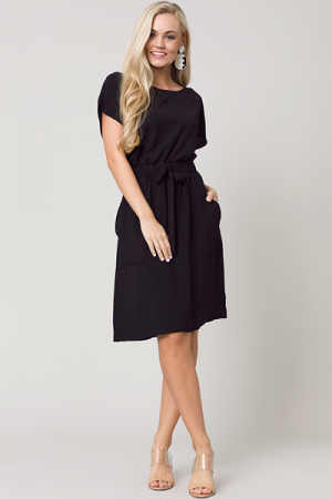 Tie Front Solid Dress, Black