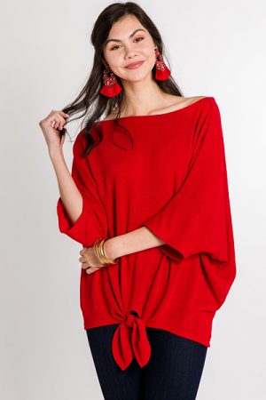 Boat Neck Tie Top, Red
