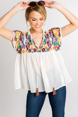 Aztec Embroidered Babydoll
