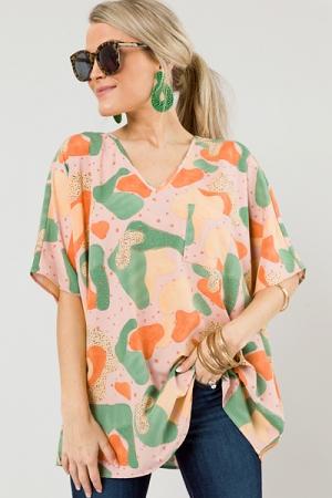 Mod Blots Oversize Top, Blush