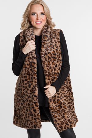 Long Fur Leopard Vest
