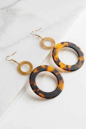 Acrylic Ring Earrings, Brown