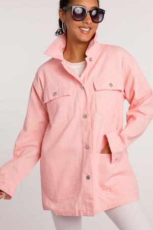Oversize Long Jean Jacket, Pink