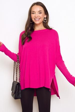 Solid Hi-Lo Sweater, Fuchsia