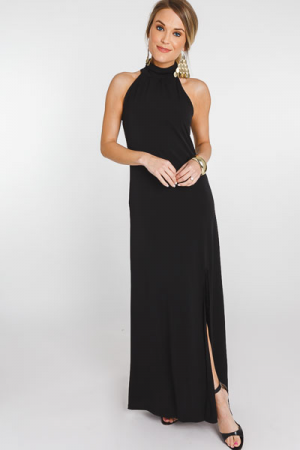 High Neck Slit Maxi, Black