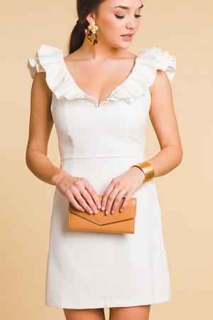 Double V Ruffle Dress, White