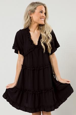 Ramona Ruffle Tier Dress, Black